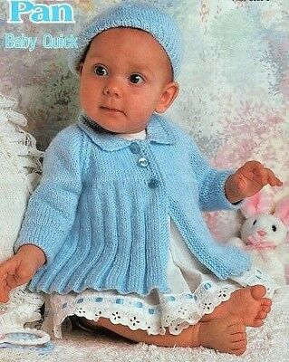 "Baby Ribbed Matinee Jacket with Collar & Beret  16"" - 20"" DK Knitting Pattern"