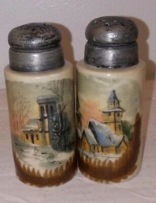 Antique Hand Painted Salt And Pepper Shakers Winter Scene Victorian Ceramic