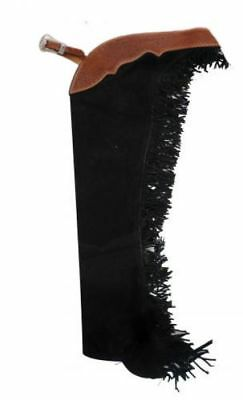 Fancy Black Suede Leather Western Horse Show Saddle Chaps  Xs  S  M  L  Xl  Xxl