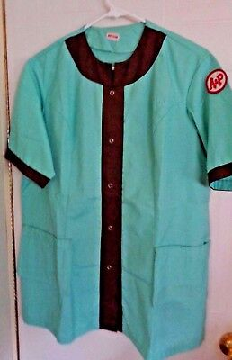 Vintage A&P Grocery Store Employee Smock Uniform w/ Patch Aqua Brown Snaps