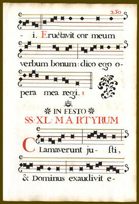 LargeGerman Antiphonal Leaf Music Psalm 33 Feast of St Joachim Stencils Choir
