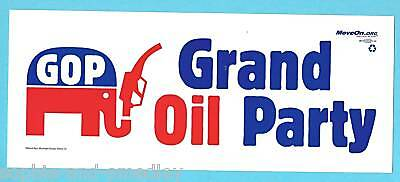 2008 Presidential Campaign Bumper Sticker ~ GOP Grand Oil Party