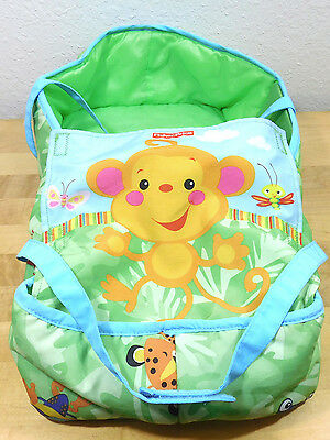 "17"" Rainforest TollyTots Baby Doll Handled Soft Bed Carrier Fisher Price EUC"