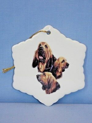 Bloodhound Dog 3 View Snowflake Porcelain Christmas Tree Ornament-L