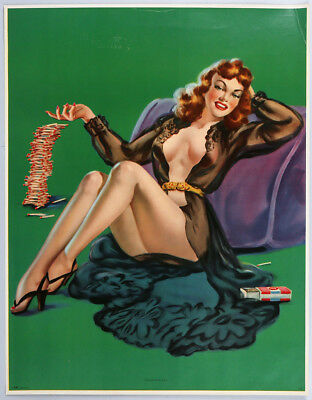 Vintage 40s Playing with Fire Cheesecake Large Risque Sexy Redhead Pin Up Print