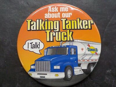 """SUNOCO """"Ask Me About Our TALKING TANKER TRUCK"""" 1998 Collectible Pin"""