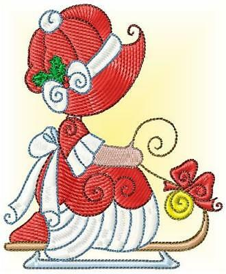 Sunbonnet Christmas 10 Machine Embroidery Designs Cd 2 Sizes Included