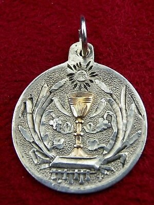 Antique 19th Century Sterling & Gold Vermeil Catholic First Communion Medal