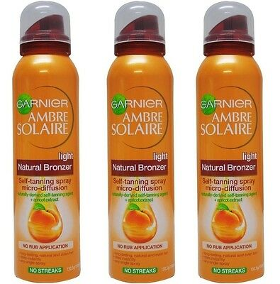 3 x GARNIER 150mL AMBRE SOLAIRE BRONZER SELF TANNING SPRAY LIGHT NATURAL NEW