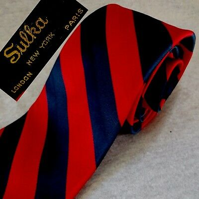 "Vintage SULKA TIE Necktie Red Blue SILK REGIMENTAL STRIPES Skinny W=3.5"" L=57"""
