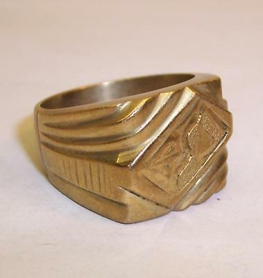 Vintage TRENCH ART Heavy GENTS RING Assume Solid Brass - Size W