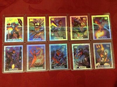 Full Set of 10 Limited Edition Marvel Masterpieces Silver Holofoil Cards (1994)
