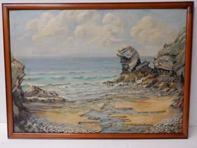 VINTAGE OLD PAINTING oil SEA SCAPE
