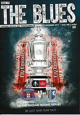 Carlisle United V Gillingham FA Cup 2nd Round Replay Programme 19-12-17
