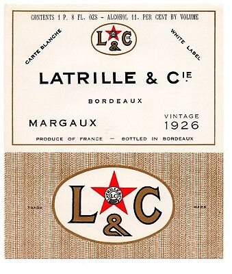 1926 Latrille & Co, Bordeaux, France Latrille Bordeaux White Label Wine Label