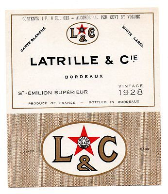 1928 Latrille & Co, Bordeaux, France Latrille Bordeaux White Label Wine Label