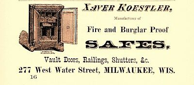1873 Xaver Koestler Fire & Burglar Safes, Milwaukee, Wisconsin Advertisement