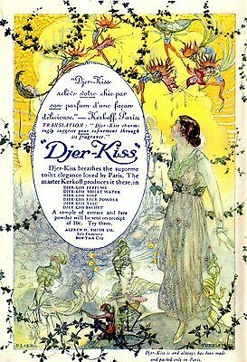 1912 Kerkoff's Djer Kiss, Paris, France Perfume Pretty Lady Color Advertisement