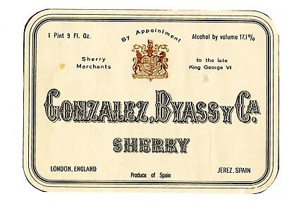 Vintage Gonzalez, Byassy Co, Jerez, Spain Sherry Wine Label