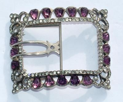 Stunning Huge Antique Sterling Silver Buckle Set With Amethyst Stones - Lot 37