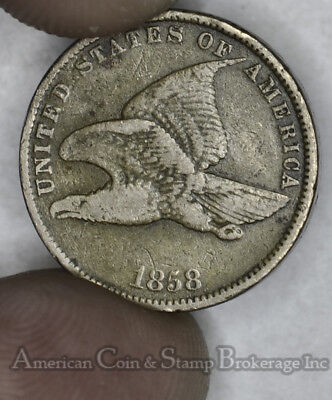 1c One Cent Penny 1858 VF/EF Small Letters Flying Eagle Golden Tan Tone Nice