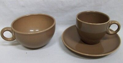 """Vintage """"Russel Wright"""" Casual China Nutmeg Iroquois Coffee & Tea Cups + Saucer"""