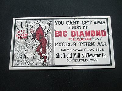 c1910 BLOTTER BIG DIAMONF FLOWER SHEFFIELD MILL&ELAVATOR MINNEAPOLIS MINN 3X6""