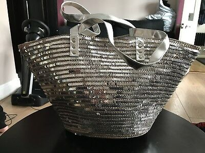 Monsoon Accessorize Silver Sequin Straw Holiday/beach Bag RRP £40