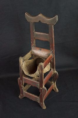 """Great antique Chinese carved wood chair-shaped brush holder 12"""" [Y8-W7-A9]"""