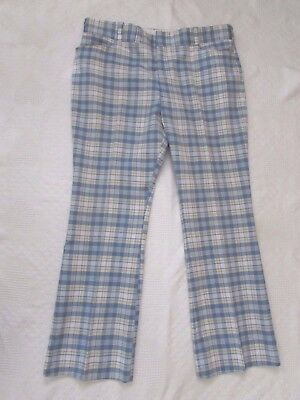 Vtg BLUE PLAID MENs PANTS Tailor's Bench Designer Collection GOLF CASUAL W 42