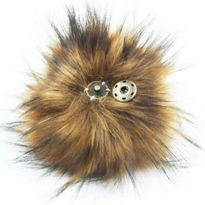 11cm Large Faux Raccoon Fur Pom Pom Ball with Press Button for DIY Knitting Hat