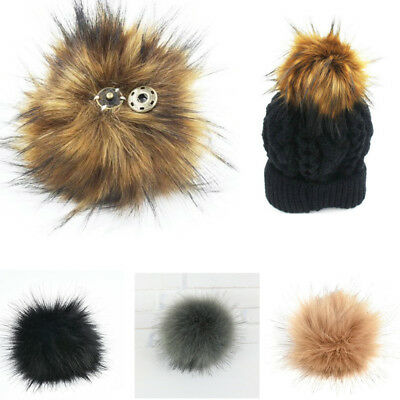DIY 11cm Large Faux Raccoon Fur Pom Pom Ball with Press Button for Knitting Hat