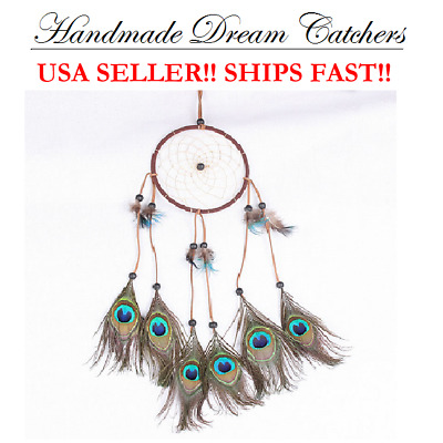 Traditional Peacock Dream Catcher Feather Wall or Car Hanging Ornament Good Luck