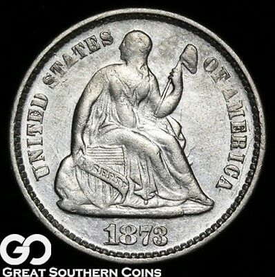 1873 Seated Liberty Half Dime, Tough Early Silver Type