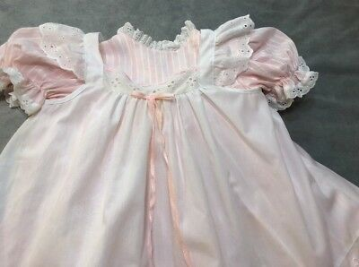 Vintage Bryan Baby Girl 3T Pinafore Dress 2 Piece Pink & White Clothes Eyelets