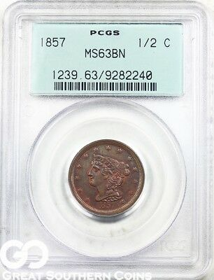 1857 PCGS Half Cent, Braided Hair PCGS MS 63 BN ** Old Green Holder, Very Nice!
