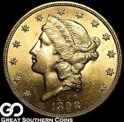 1898-S Double Eagle, $20 Gold Liberty, Lustrous Gem BU++ ** Free Shipping!