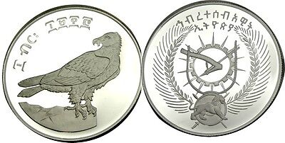 elf Ethiopia PDR 10 Birr EE1970 AD 1977 Silver Proof  Bearded Vulture Bird