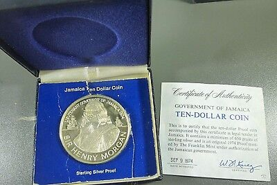 1974 Jamaica $10 SILVER PROOF Coin With COA & Presentation Case