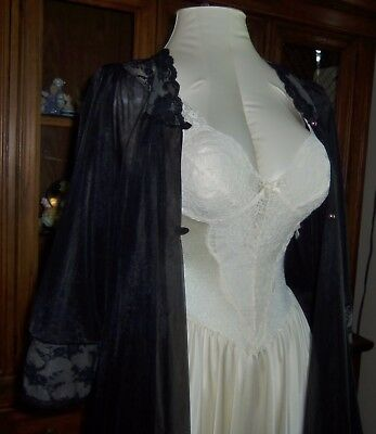 Vtg  Olga lace fitted nylon sweep nightgown Black double chiffon Peignoir  S M