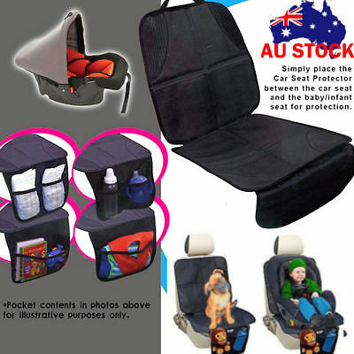 Baby Car Seat Protector Mat  Under Child Seat Leather Saver Covers Fixing Belt