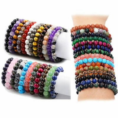 Handmade Natural Gemstone Reiki Round Stone Beaded Charm Men Fashion Bracelets
