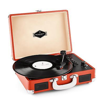auna Peggy Sue Red Tocadiscos retro digitalizador Vinilo LP USB Line Out Naranja