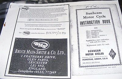 Sunbeam 250 / 350 / 500 / 600 Instruction Book  (All Models Listed)