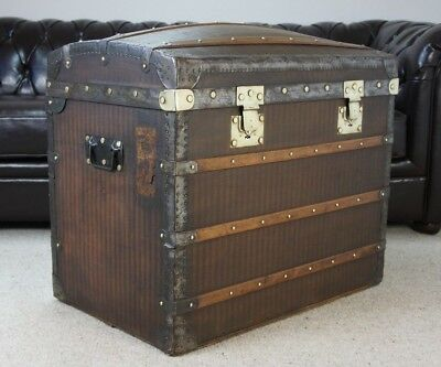 Beautiful Striped Canvas Steamer Trunk Chest By Moynat