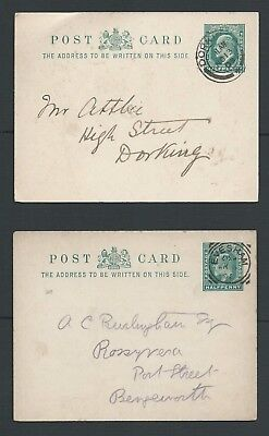 Edward Vii, Half-Penny Postcard, Two Off, Used Dated 1902/1903