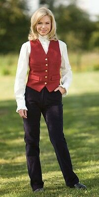 Ladies Equetech Show Waistcoat Welsh Pony Cob Red,Navy, CanaryYellow & Burgundy