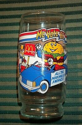1986 McDonald's VOTE FOR ME McD.L.T. McVote '86 Collectors Tall Drinking Glass