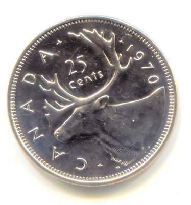 1970 Uncirculated Canadian Caribou 25 Cent Coin - Canada Quarter - Proof Like