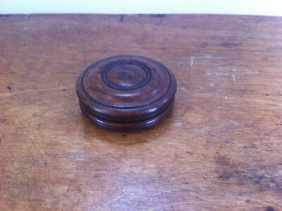 LOVELY DECORATIVE GOOD QUALITY 19th CENTURY ROUND WOODEN SNUFF BOX 2.5 inches